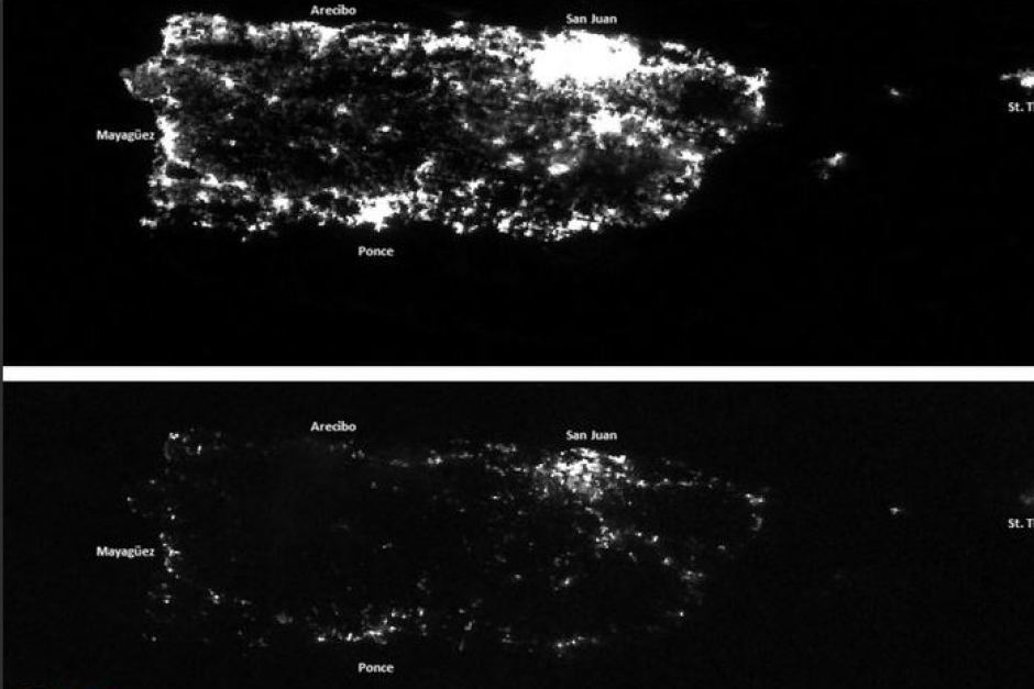 a satellite map of Puerto Rico showing the lights on before Hurricane Maria and then the lights off after