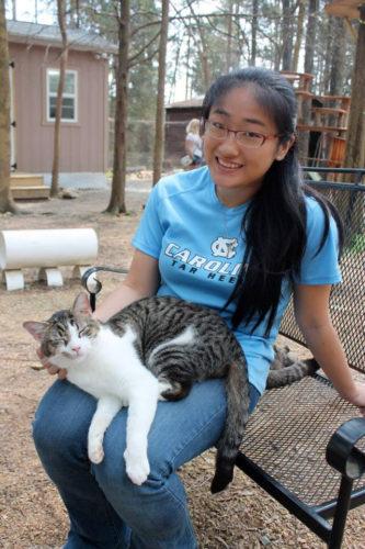 Teresa Zhou and a cat