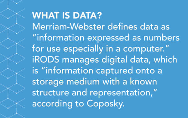 "What is Data? Merriam-Webster defines data as ""information expressed as numbers for use especially in a computer."" iRODS manages digital data, which is ""information captured onto a storage medium with a known structure and representation,"" according to Coposky."