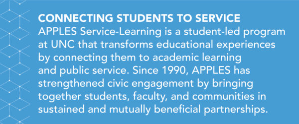 APPLES Service-Learning is a student-led program at UNC that transforms educational experiences by connecting them to academic learning and public service. Since 1990, APPLES has strengthened civic engagement by bringing together students, faculty, and communities in sustained and mutually beneficial partnerships.