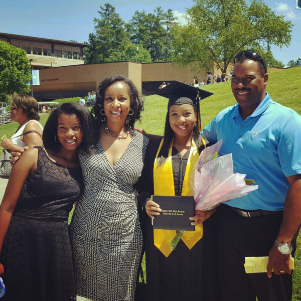 Frazier-Bowers stands proud at her eldest daughter's graduation from Chapel Hill High School last June.