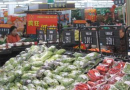 Picture of the produce section in a Chinese grocery store, similar to a Walmart
