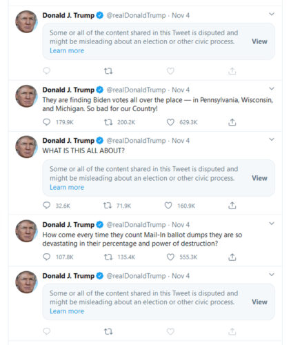 a screenshot of President Trump's tweets from the day after Election Day 2020