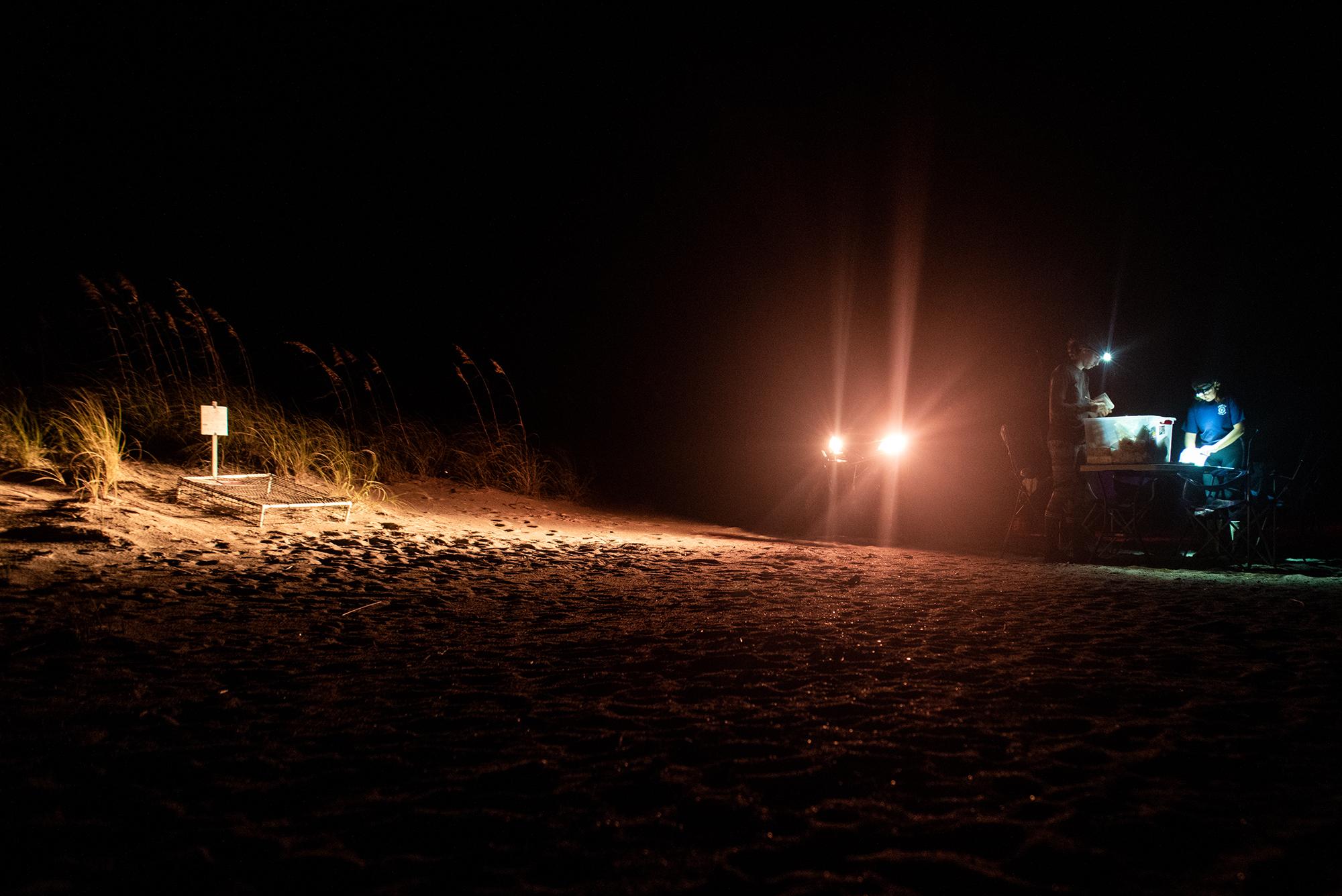 ATV on the beach at night