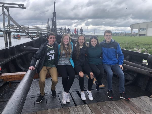 Kate Richardson with four friends on an old viking ship