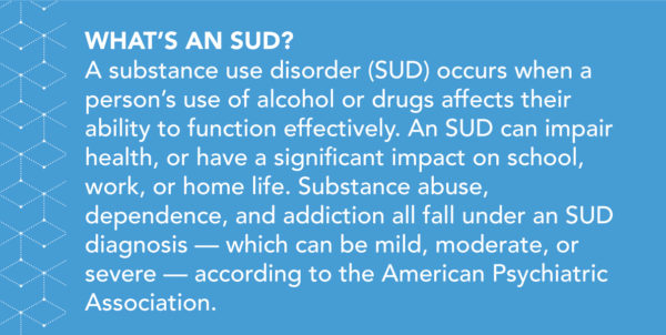What's an SUD? A substance use disorder (SUD) occurs when a person's use of alcohol or drugs affects their ability to function effectively. An SUD can impair health, or have a significant impact on school, work, or home life. Substance abuse, dependence, and addiction all fall under an SUD diagnosis — which can be mild, moderate, or severe — according to the American Psychiatric Association.