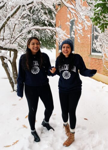 Divya Narayanam and her roomate in the snow