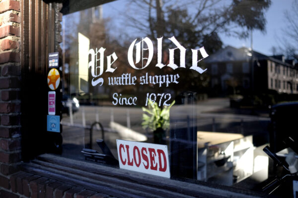 front of Ye Olde Waffle Shoppe on Frankling Street