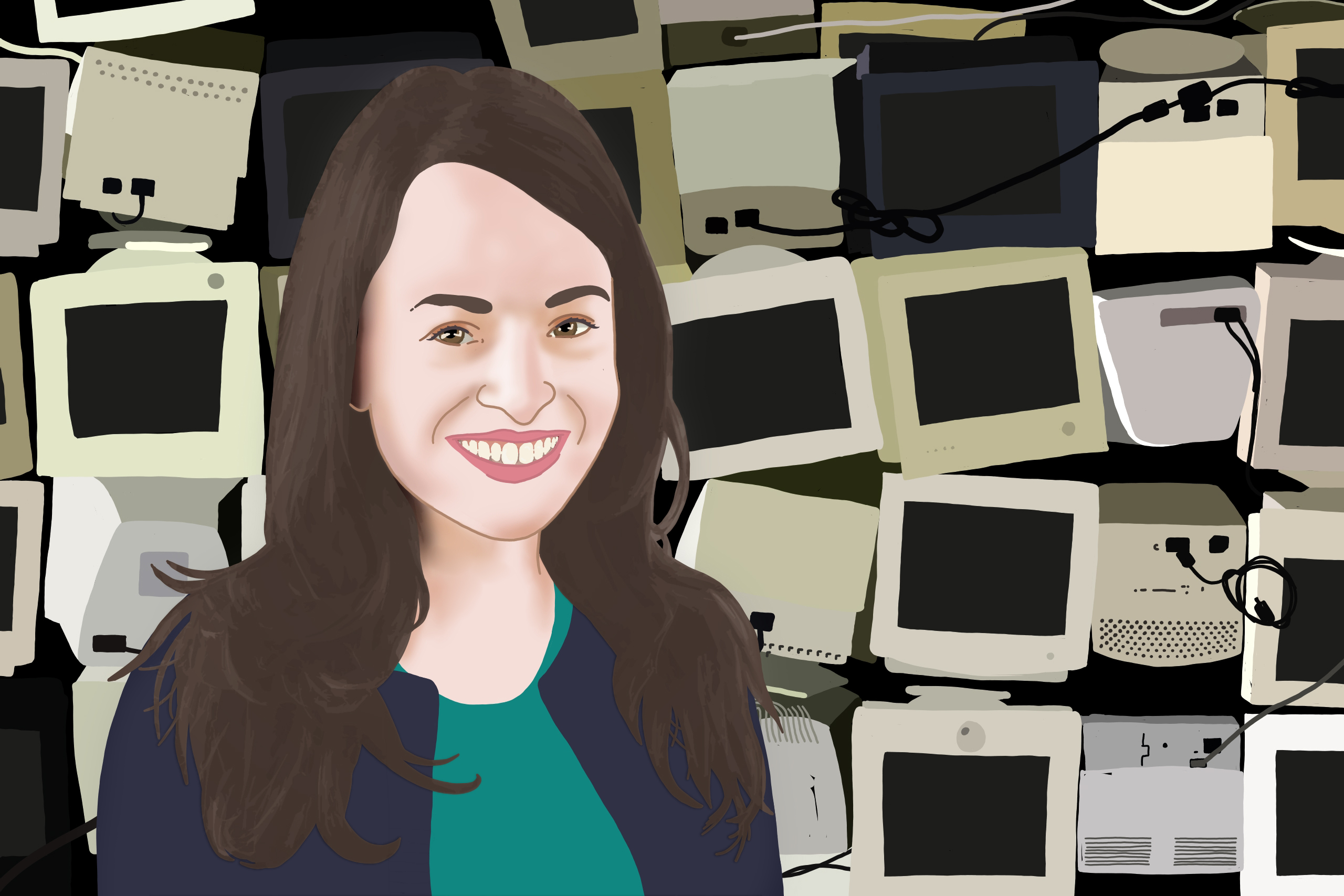 an illustration of Alice Marwick with a bunch of old computers behind her