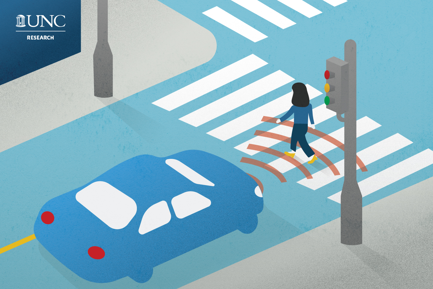 "graphic of a woman crossing a crosswalk and an autonomous vehicle ""sensing"" her as she walks past"