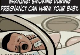 "Illustration of a baby in an incubator, crying, with the words ""Warning: Smoke During Pregnancy Can Harm Your Baby."" above it and the phone number ""1-800-QUIT-NOW"" below."