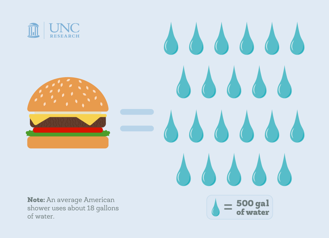 Illustration infographic. Burger equals 22 water droplets. One water droplet equals 500 gallons of water. Note: An average American show uses about 18 gallons of water.