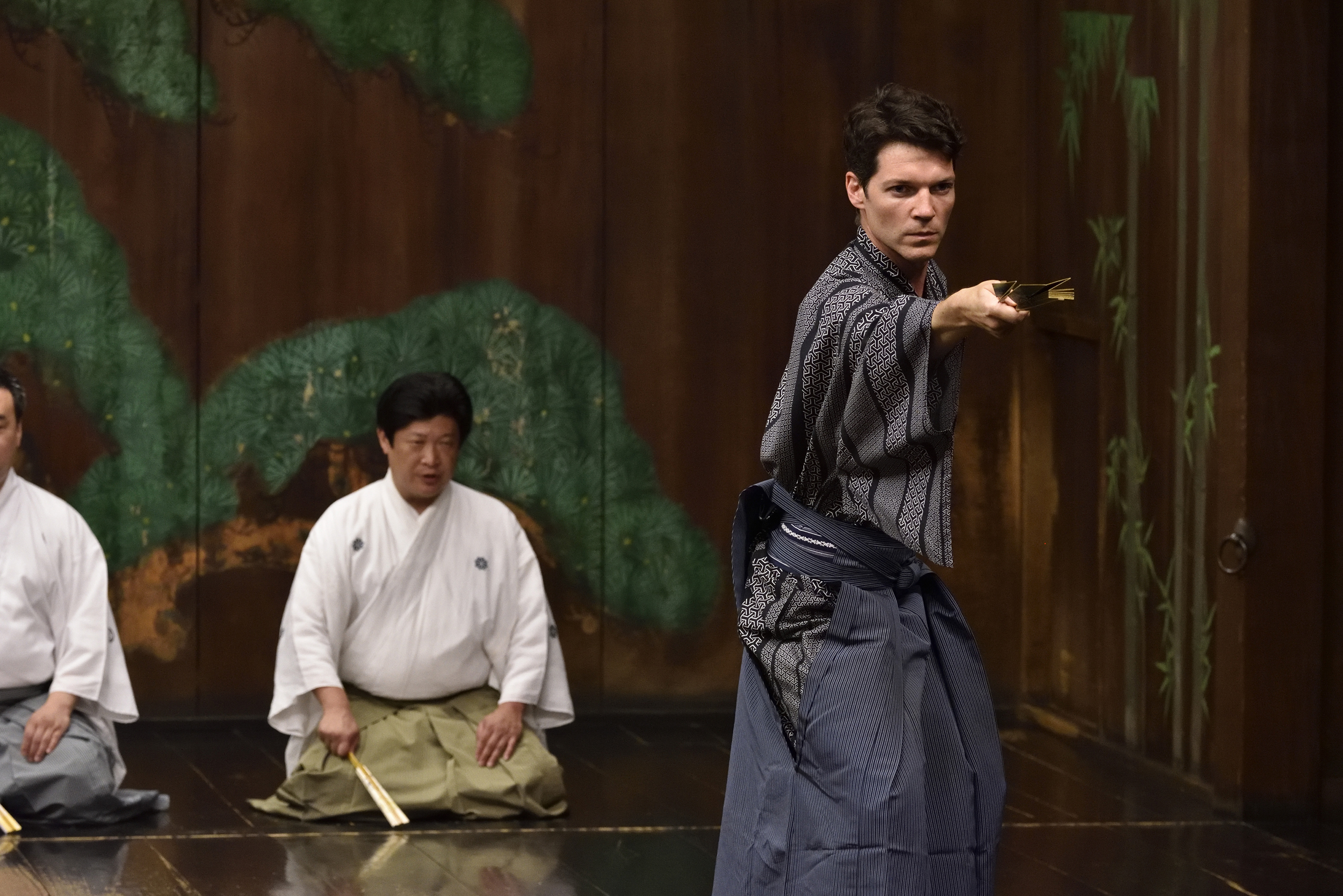 Marc Callahan performs a Japanese dance called a shimae
