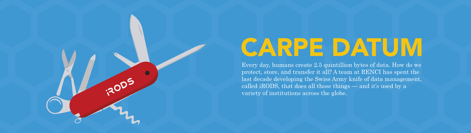 "Banner for the story ""Carpe Datum"" Every day, humans create 2.5 quintillion bytes of data. How do we protect, store, and transfer it all? A team at RENCI has spent the last decade developing the Swiss Army knife of data management, called iRODS, that does all those things — and it's used by avariety of institutions across the globe. Click to read more."