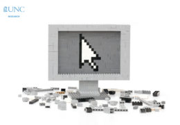 a computer monitor made out of LEGOs