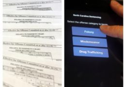 "Split screen photo: left side shows multiple Felony Punishment Chart papers fanned out. Right right shows someone tapping a touch screen that says ""Select the offense category to begin. Felony, Misdemeanor, or Drug Trafficking"" and the user is selecting ""Felony"""