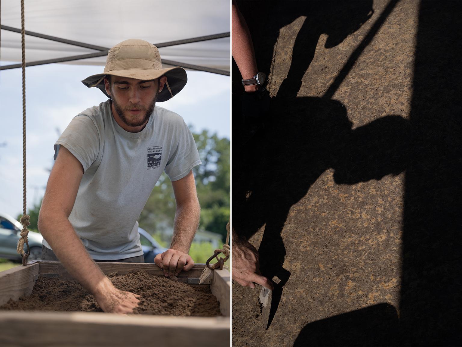 Evan Cabral digs through dirt