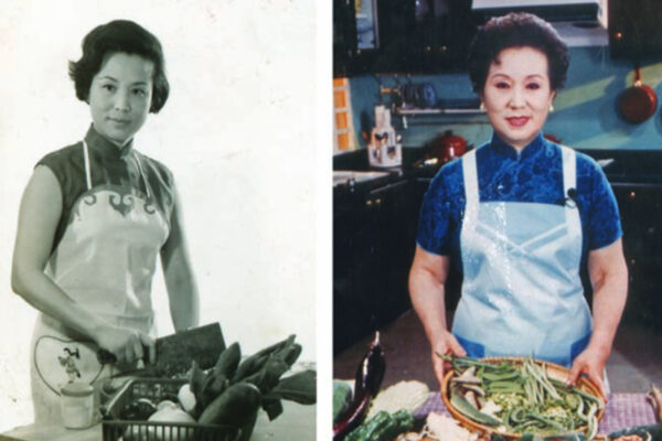 Fu Pei-Mei poses in two different eras of her cooking shows