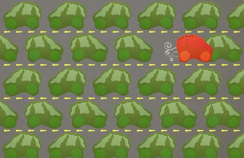 Illustration of a red car attacking/running into a green car