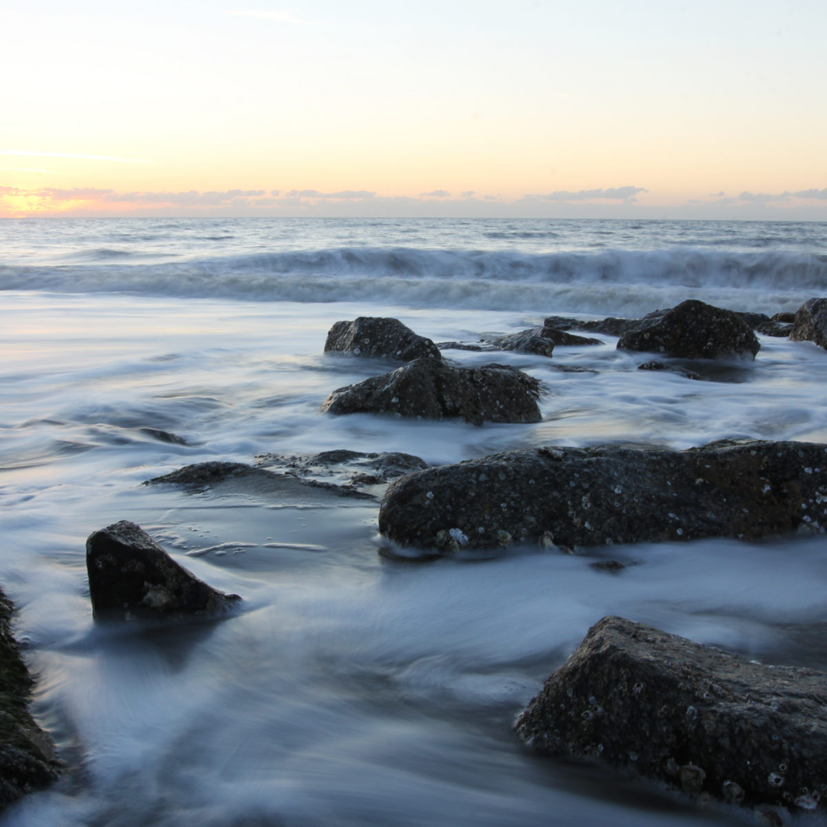 The Beach Tide Starts To Recede At Sun Rises