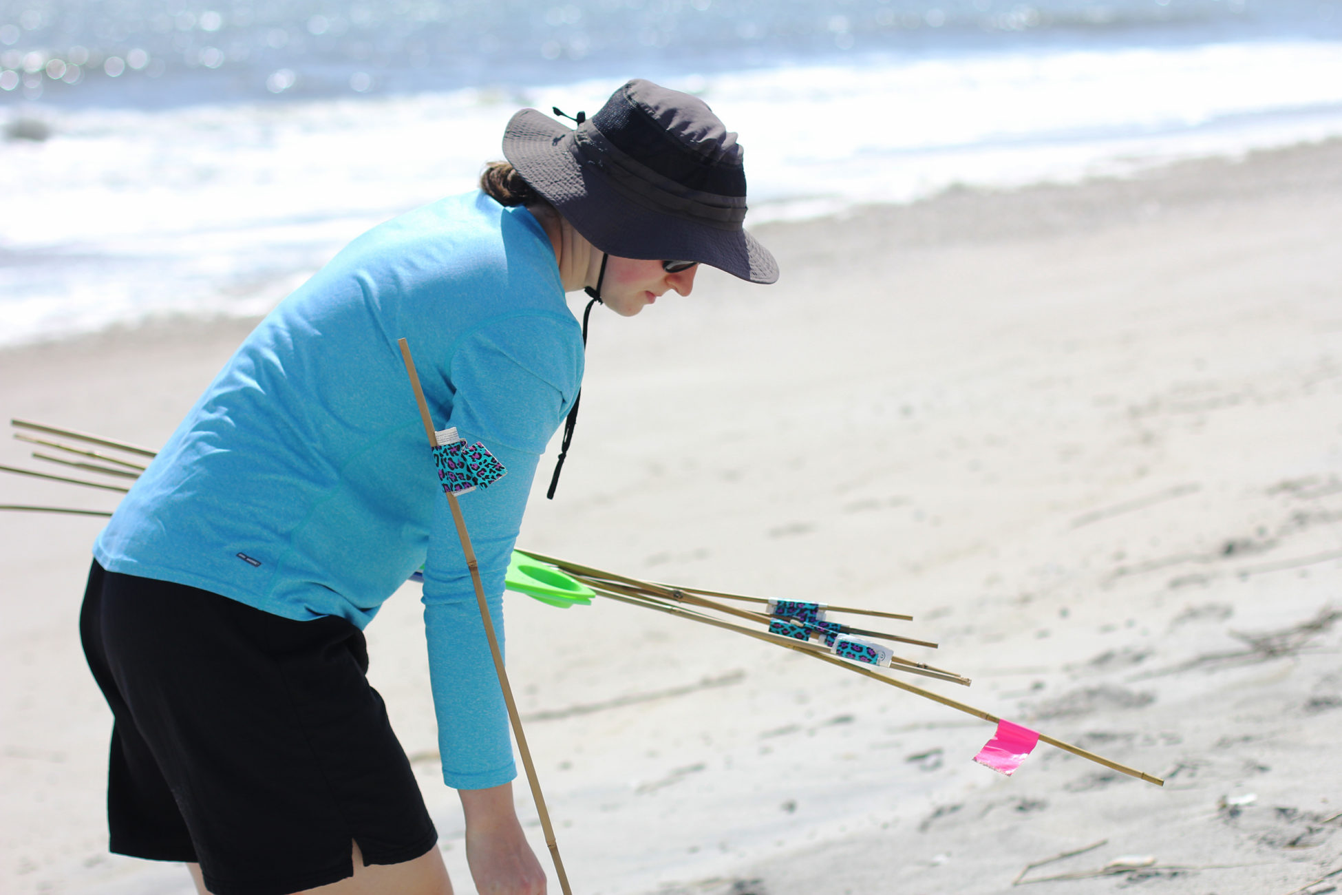 Elsemarie deVries sets up bamboo stakes into the beach