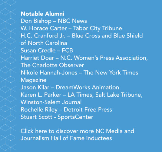 Side-bar in blue, that states: Notable Alumni, Don Bishop (NBS News), W. Horace Carter (Tabor City Tribune), H.C. Cranford Jr. (Blue Cross and Blue Shield of North Carolina), Susan Credle (FCB), Harriet Doar (N.C. Women's Press Association, The Charlotte Observer, Nicole Hannah-Jones (The New York Times Magazine), Jason Kilar (DreamWorks Animation), Karen L. Parker (LA Times, Salt Lake Tribune, Winston-Salem Journal), Rochelle Riley (Detroit Free Press), and Stuart Scott (SportsCenter). Click here to discover more successful alumni.