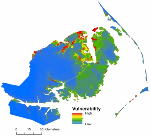 Abinash Bhattachan The Saltwater Intrusion Vulnerability Index (SIVI) determines saltwater intrusion risk based on elevation, proximity to saltwater sources, and water characterstics.