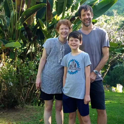 Nichola Lowe with her husband and son in Costa Rica