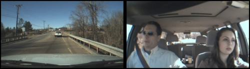 Split photos: Left shows a dashcam view; looking at from the from of the car at the road and the backend of the car in front. Right image shows a young teen driving with her father.