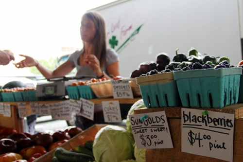 Photo of customers purchasing produce from a vendor at The Durham Farmers' Market.