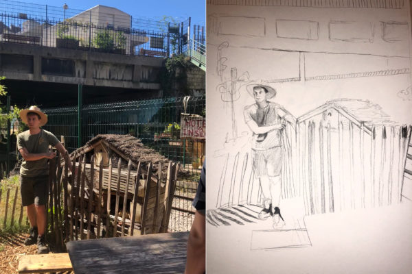 Side by side comparison of Faircloth's photo and sketch of man wearing hat standing outdoors.