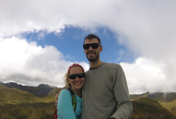 Harmon and her partner hiking the Pichincha Volcano near Quito, Ecuador in 2016.