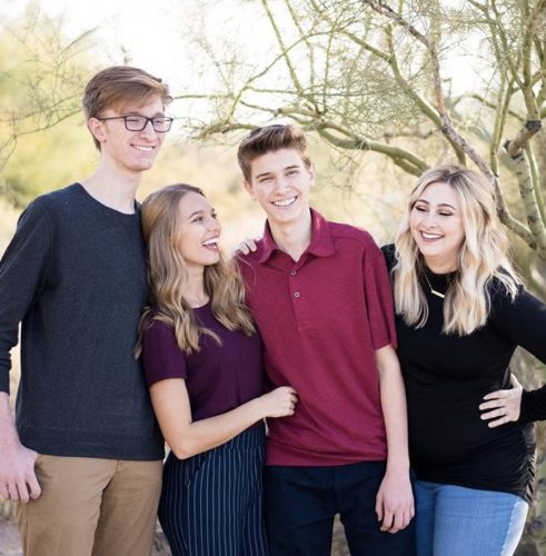 Tori Ehrhardt with her two brothers and sister