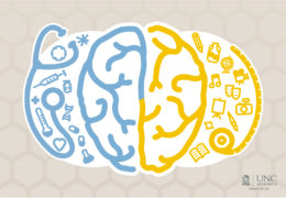 Illustration of a brain with multiple icons. The right side represents the arts and the left side represents medical science.
