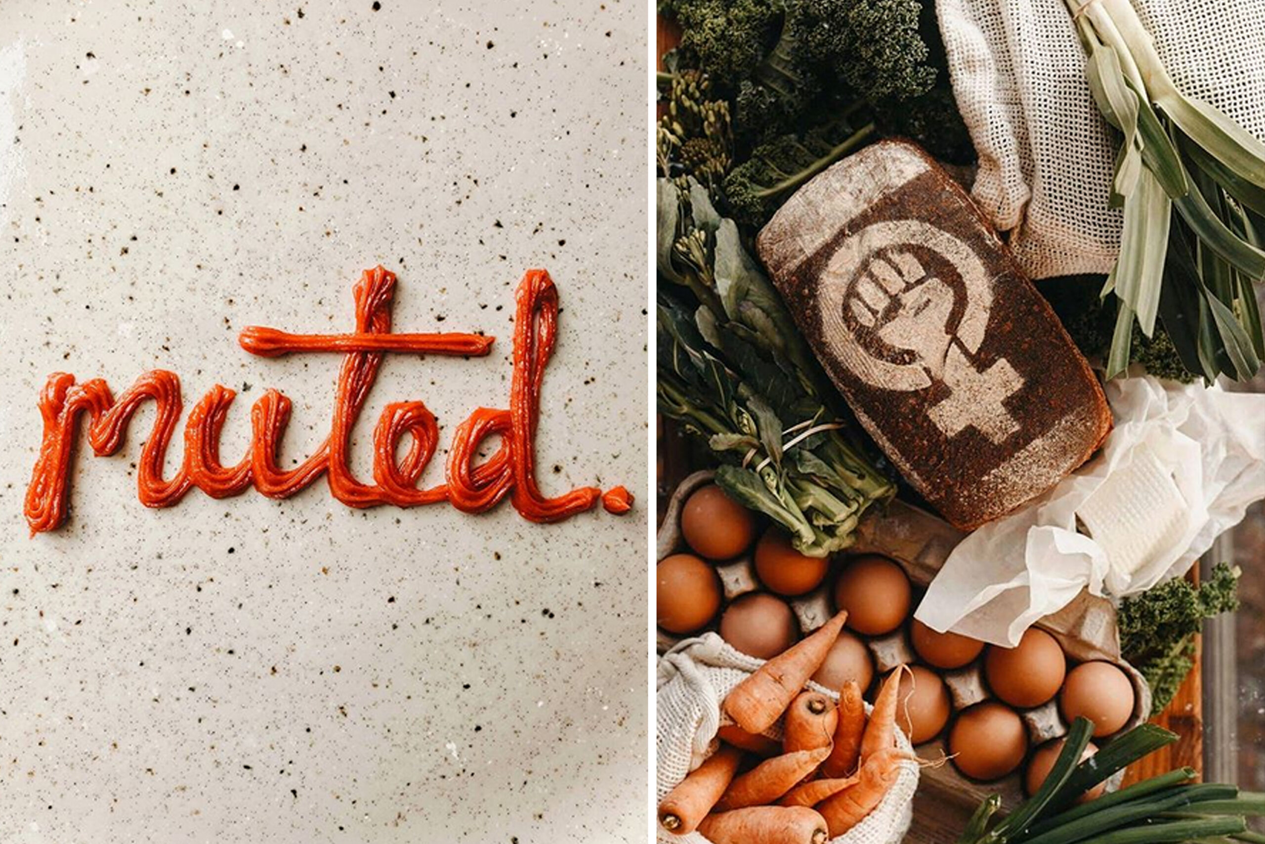 "On the left, red frosting spells out the word ""muted"" on speckled table; on the right, a loaf of bread is dusted with flour, making a design of a raised fist inside the female symbol"