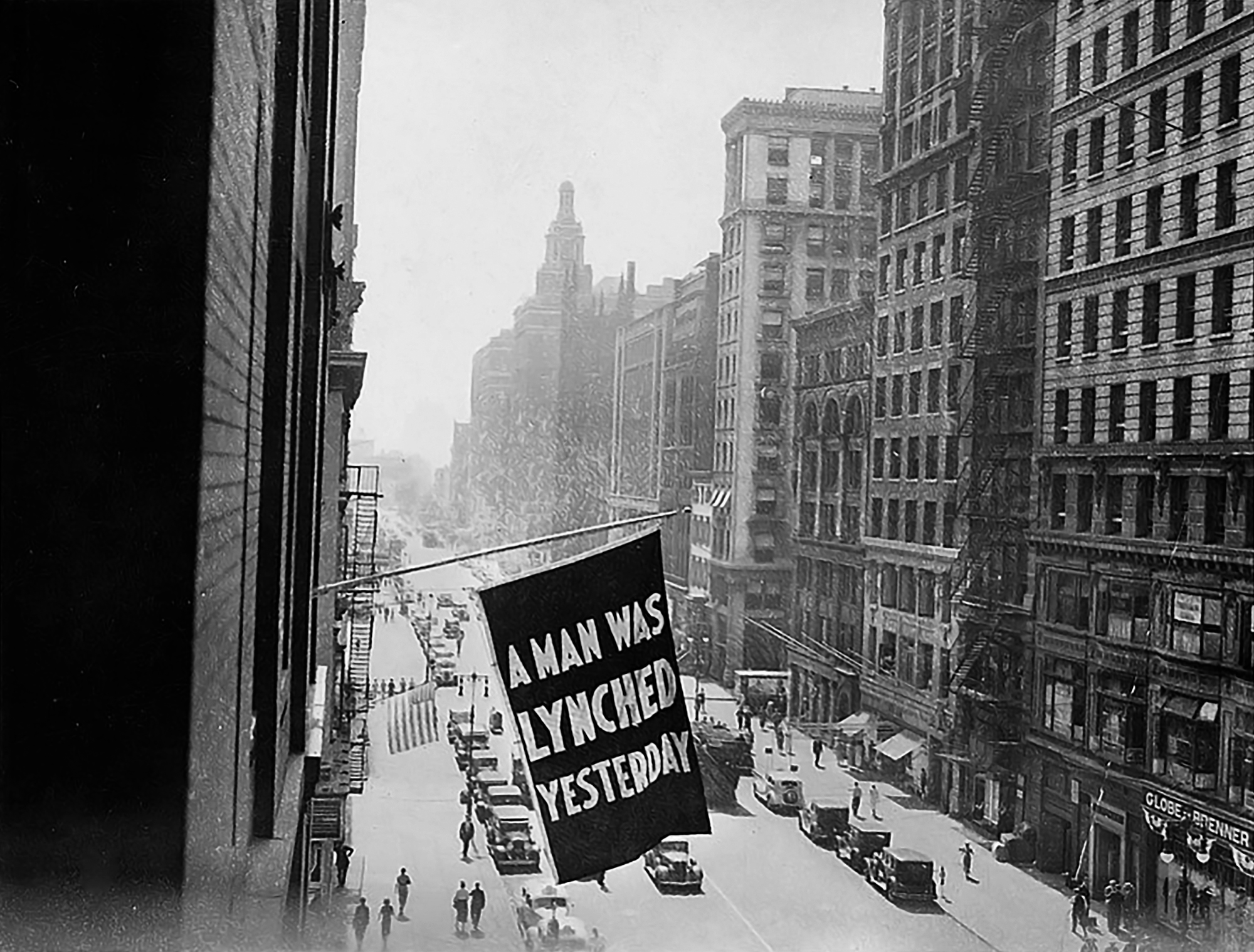 An anti-lynching banner flew outside NAACP headquarters in Manhattan, New York, from the early 1900s until 1938.