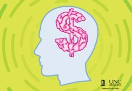 Illustration of a silhouette of a head with a brain in the shape of a money sign in it.