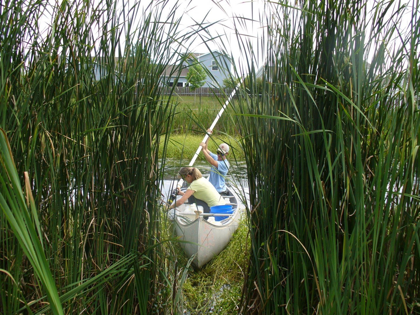 two girls row a canoe in a pond and collect water samples