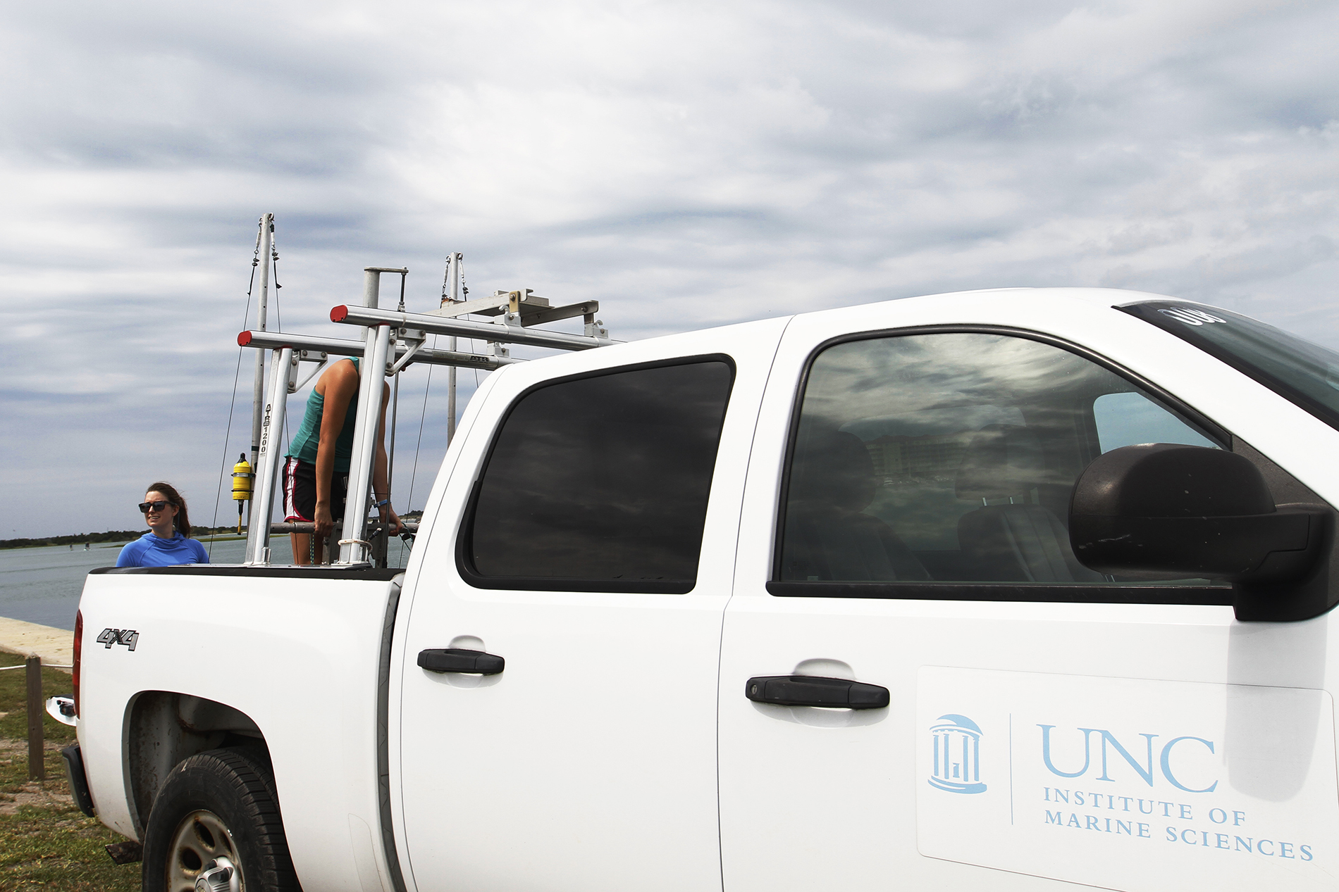 The team uses a truck to transport the rig and all of their equipment to the next sampling site. They will sample three different sites along the shoreline during the day and at night.