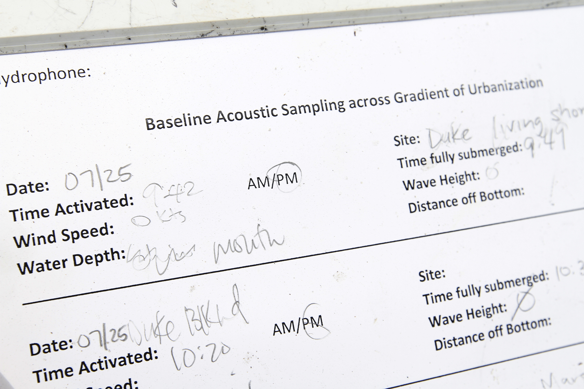 a piece of paper listing sampling site variables