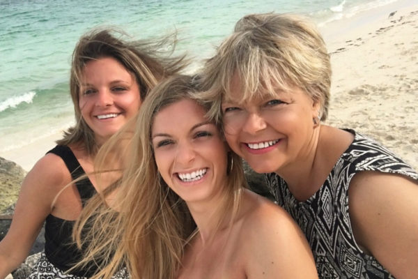 Ruel with her daughters, Amy and Allie, in the Bahamas.