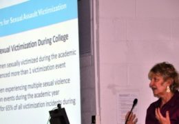 Sandra Martin, associate dean for research in the Gillings School of Global Public Health, speaks about sexual assault on college campuses at the 2015 Gender-Based Violence Research Group Summit.