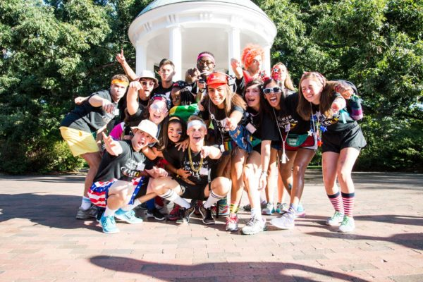 """Vickers (front row, center) is co-director for Carolina Kickoff, a three-day crash course on all things UNC for 175 incoming first-years. """"This organization has given me leadership skills, incredible friendships, and so much joy,"""" she says."""