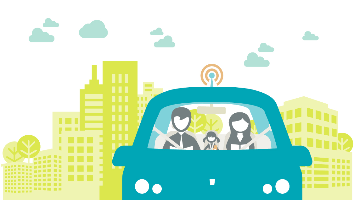 Illustration of a family of three riding in a self-driving car away from a city.