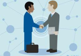 Illustration of two business men shaking hands.