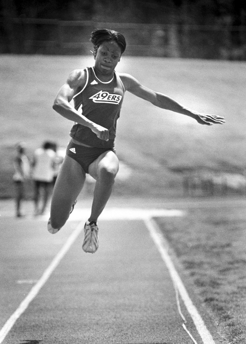 Photo Courtesy of UNC Charlotte At UNC Charlotte, LeBlanc was the first student athlete in the university's history to garner both academic and athletic All-America Honors. She is a two-time All-American in the women's triple jump, and a three-time Academic All-American.