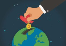 An illustration of a someone in a suit putting hearts and coins into a piggy bank slot notched into an illustration of the globe