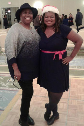 Leigh (right) grew up dancing and currently performs in a tap ensemble. Here, she poses with her aunt after a performance last year.