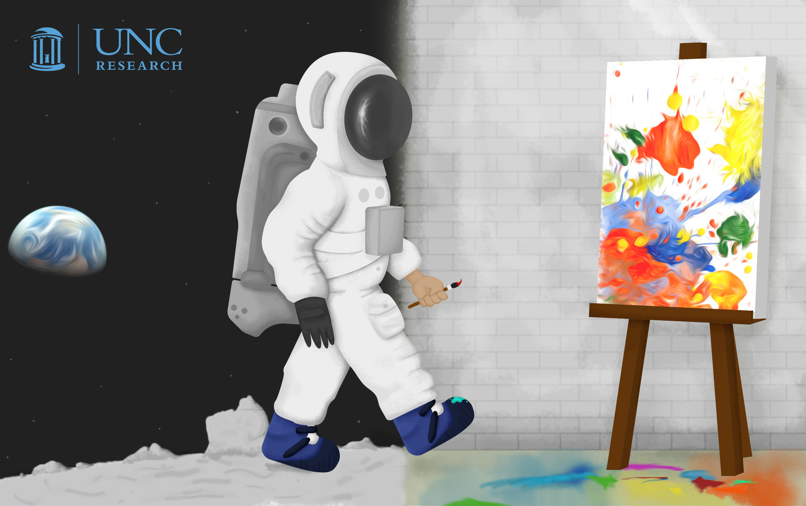 Illustration of an astronaut walking from a moon scene to a painting studio scene, holding a paint brush.