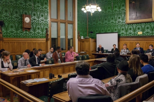 Photo of multiple spears at the British Parliament in November to talk about their findings on trans people in electoral politics.